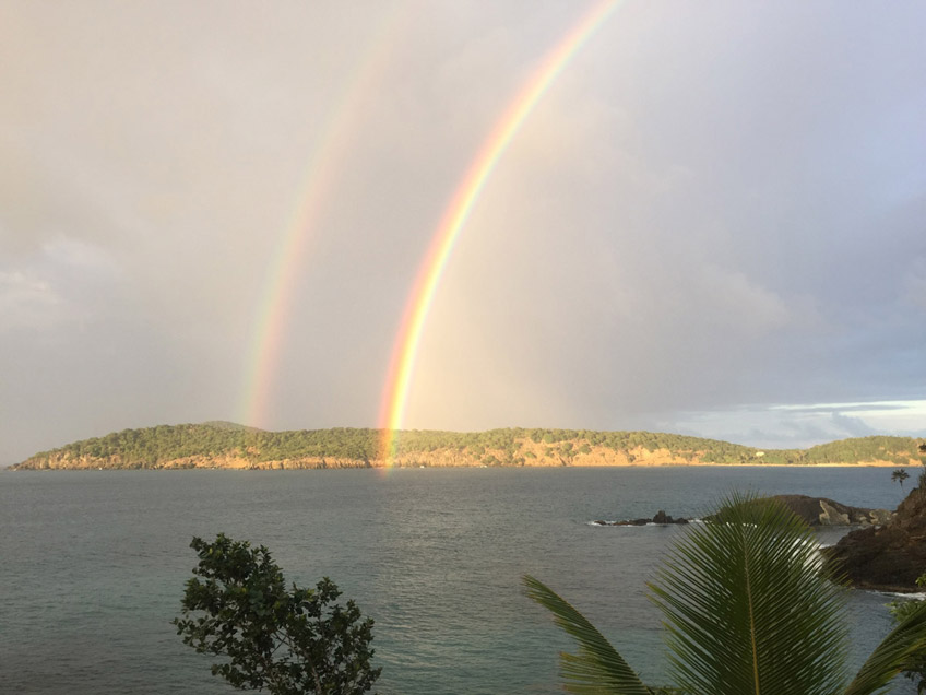 Beautiful twin rainbows taken by a guest December 2014 looking off the deck at Inner Brass Island. Thank you for sharing this great picture!