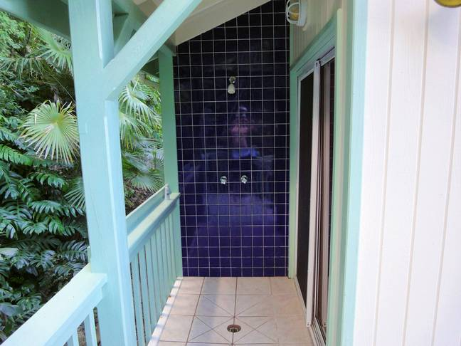 Outdoor shower upstairs cottage